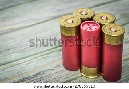 Cartridges hunting ammunition - stock photo