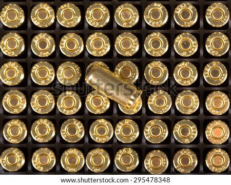 Cartridges of 9mm pistols ammo. - stock photo