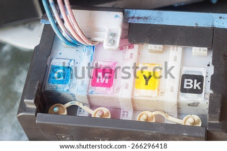 Cartridges of printer with CMYK color - stock photo