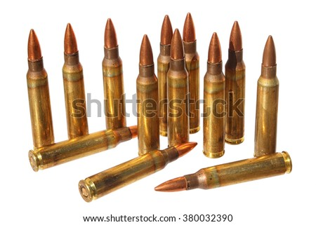 Cartridges (Submachine gun cartridges) isolated on a white background