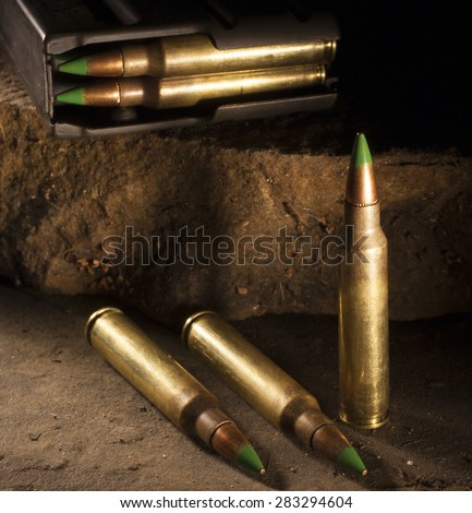 Cartridges that are considered armor piercing and loaded magazine - stock photo