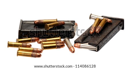 Cartrige belts with caliber 12 shotgun ammunition. - stock photo