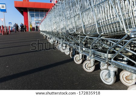 Carts for purchase. - stock photo
