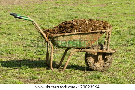 Carts with natural cow manure standing on grass field - stock photo