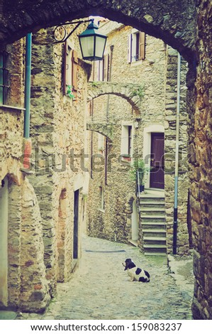 Caruggio of Genoa narrow streets in the old town vintage looking