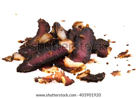 Carved beef biltong, a South African delicacy of dried cured meat, known for its umami flavours.