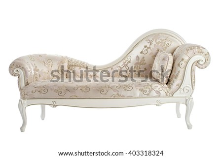 Carved couch in the Renaissance, Baroque isolated on white background. - stock photo