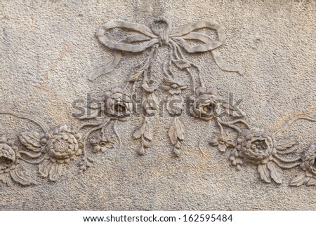 Carved decorations houses of the old town in Gdansk, Poland. - stock photo