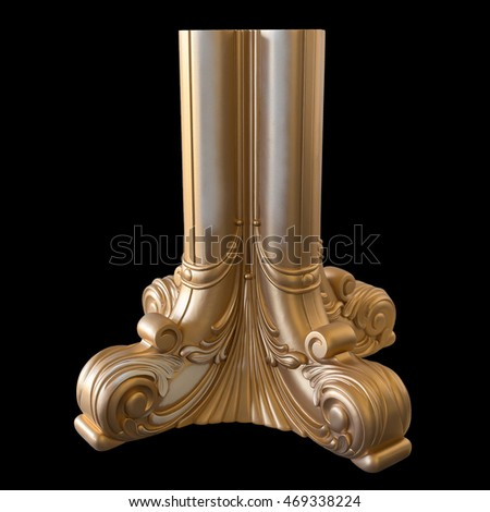 carved element furniture, covered with gold paint. high-end luxury furniture in classic style. white tree with gold trim. patina. carving. Front view. isolated on a black background
