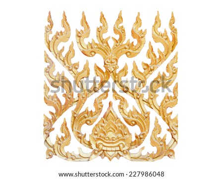 Carved floral patterns(Thailand marks) in isolate on white.