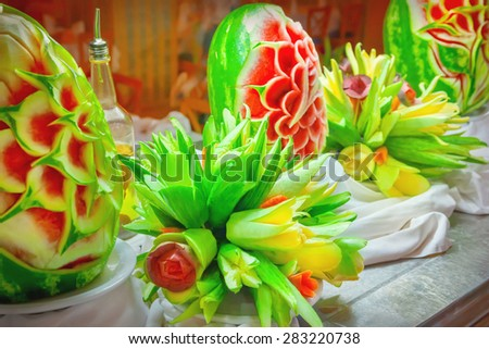 Carved fruits and vegetables - stock photo