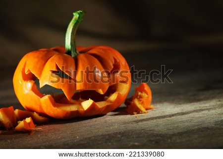 Carved Halloween jack o' lantern - stock photo