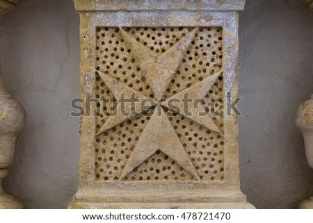 Carved Limestone Eight Pointed Maltese Cross Stock Photo 100 Legal