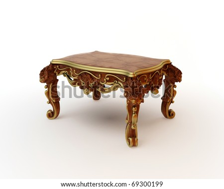Carved oak table of 3d rendering - stock photo