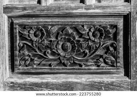 Carved pattern on wood, element of decor, process b&w