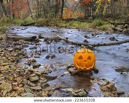 Carved pumpkin head by the autumn river, Halloween scenery - stock photo