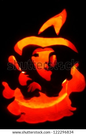 Carved Pumpkin Witch - stock photo