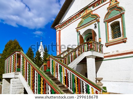 Carved stairs to church in Kolomna Kremlin - Russia - Moscow region - stock photo