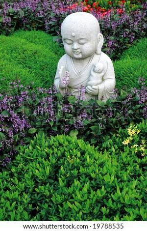 Carved Stone buddha statue - stock photo