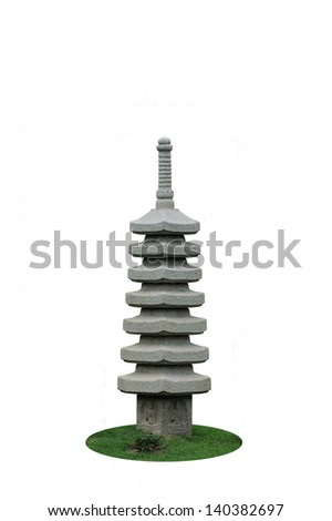 Carved stone pagoda , pagoda isolated