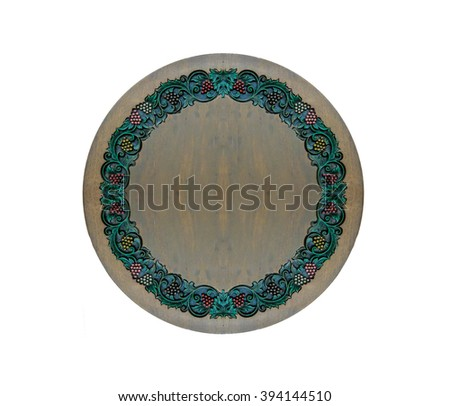 Carved Vintage Style Floral Pattern as Frame on Circle Wooden Texture with Copyspace to Input Text Isoated on White Background - stock photo