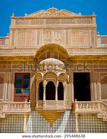 Carved window in Mandir Palace, Jaisalmer, Rajasthan, India  - stock photo