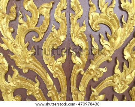Carved wood door close thai style