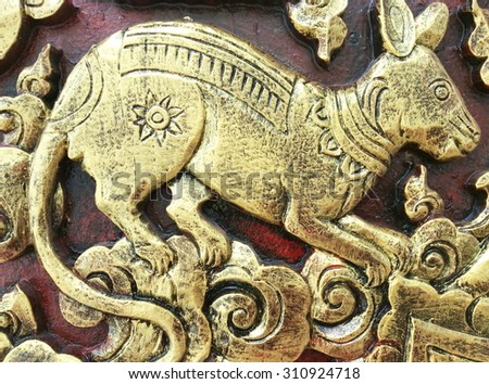 Carved wood wall close thai style