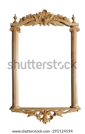 carved wooden ancient frame - stock photo