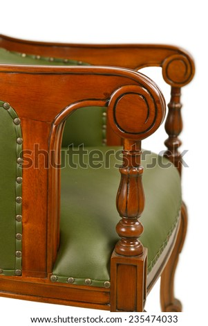 carved wooden armrest leather chair