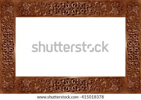 Carved wooden frame isolate on white background. - stock photo