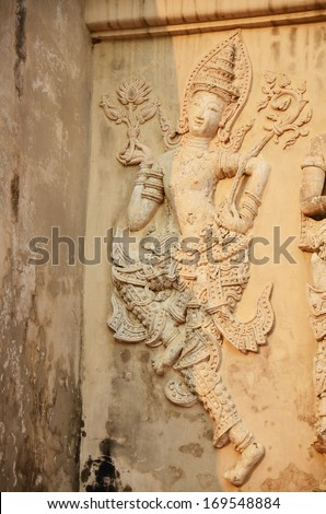 Carving art at Wat Phra Singh Woramahaviharn located in the western part of the old city centre of Chiang Mai Thailand