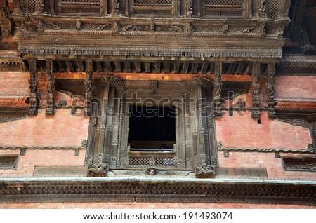 Carving of Hanuman Dhoka at Kathmandu Durbar Square Nepal - stock photo
