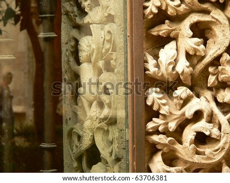 carvings on the exterior of a church in valencia in spain