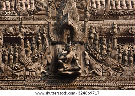 Carvings on top of Shwenandaw Kyaung Temple or Golden Palace Monastery in Mandalay, Myanmar