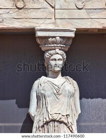 Caryatid detail, Acropolis of Athens, Greece - stock photo
