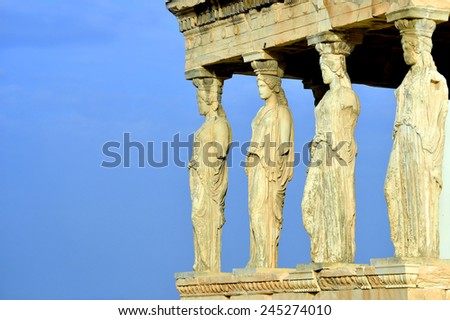 Caryatides, Erechteion, Parthenon on the Acropolis in Athens, Greece - stock photo