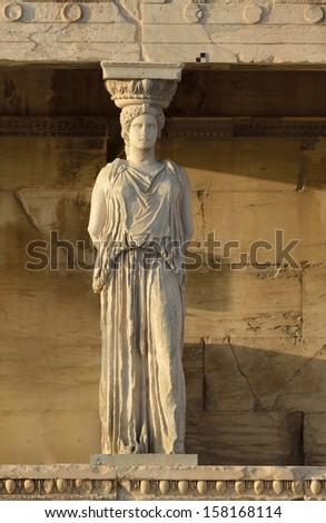 caryatids Acropolis Athens - stock photo