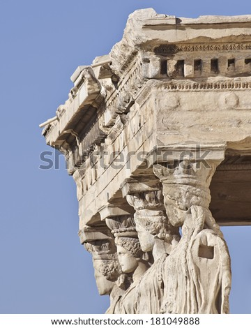 Caryatids ancient Greek statues, detail - stock photo