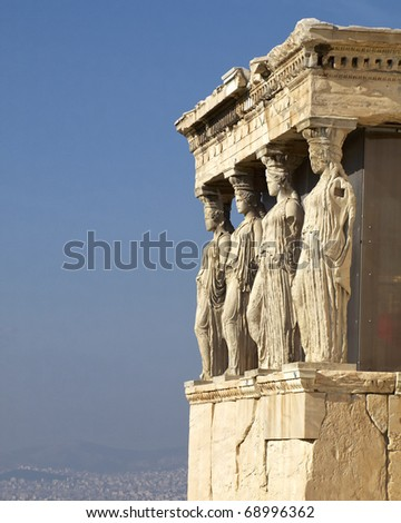 Caryatids, erechteion temple  Acropolis, room for type - stock photo