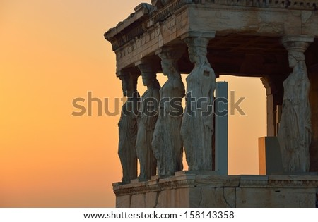 Caryatids in Erechtheum from Athenian Acropolis,Greece  - stock photo