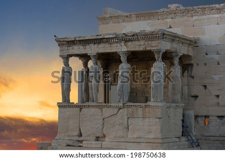 Caryatids in Erechtheum from Athenian Acropolis,Greece  - stock photo