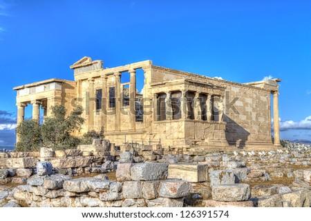 Caryatids in Erechtheum in Acropolis,Athens,Greece - stock photo