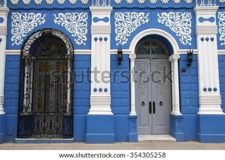 Casa de la Cultura in Camaguey, Cuba. UNESCO World Heritage Site. - stock photo