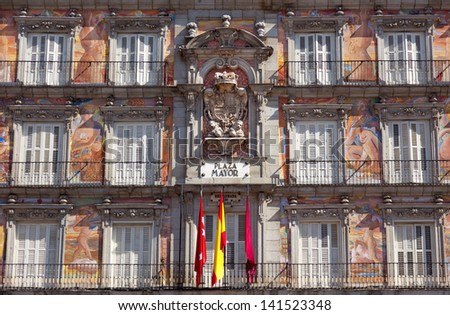 Casa de la Panaderia on Plaza Mayor in Madrid, Spain / architecture and art - stock photo