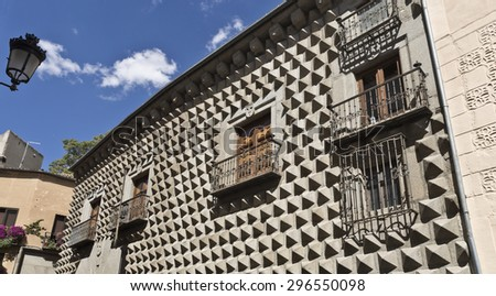 Casa de los Picos with its facade covered by granite blocks carved into diamond-shapes in Segovia, Spain. - stock photo