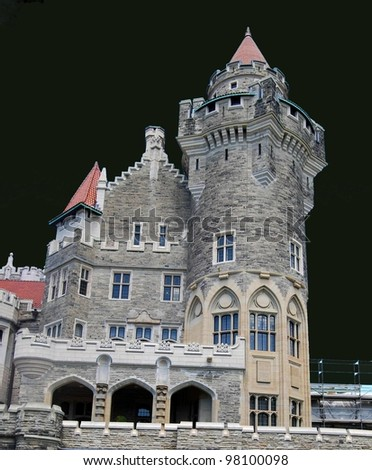 Casa Loma in Toronto,Canada with Black Background - stock photo