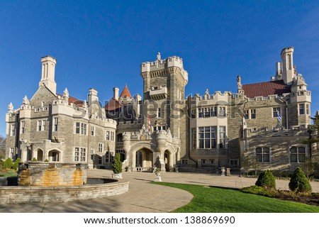 Casa Loma in Toronto - front entrance - stock photo