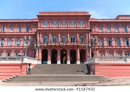 Casa Rosada (pink house) Buenos Aires Argentina.La Casa Rosada is the official seat of the executive branch of the government of Argentina. - stock photo