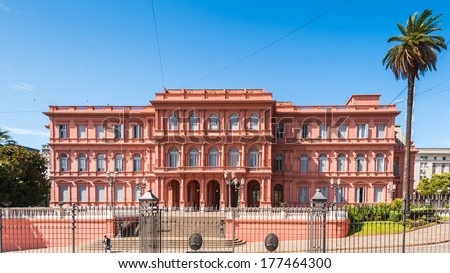 Casa Rosada (Pink House) in Buenos Aires. It's the Government house and the office of the President of Argentina - stock photo